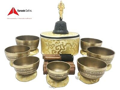 Set of 7Chakra Healing Tibetan Singing Bowl All Made Meditation by Hand in Nepal