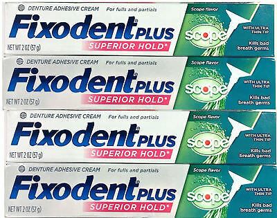 FIXODENT PLUS SUPERIOR HOLD plus SCOPE 2 oz each DENTURE ADHESIVE CREAM (4 PACK)