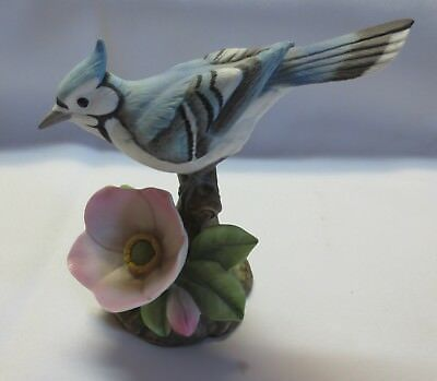 Vintage Blue Jay by Andrea Porcelain Figurine #9609 - Sadek - Tail Up
