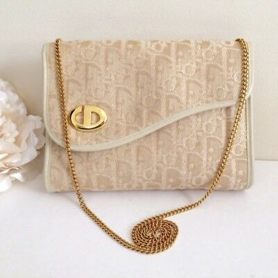 353619d74083 RARE❤️DIOR❤️Vintage Christian Dior CD Beige Trotter Gold Chain Shoulder  Purse
