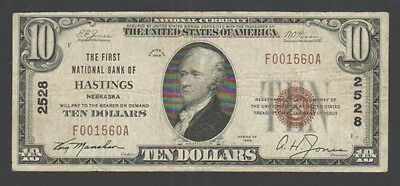 """""""F-VF"""" 1929 Type-1 $10 Hastings NE, The First NB CH# 2528 """"F001560A"""", #028"""