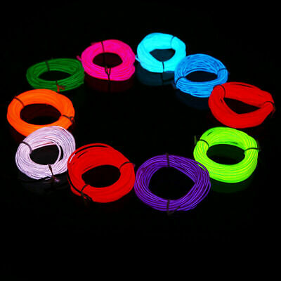 Flexible Neon LED Light Glow EL Wire String Strip Rope Tube Car Garden Outdoor