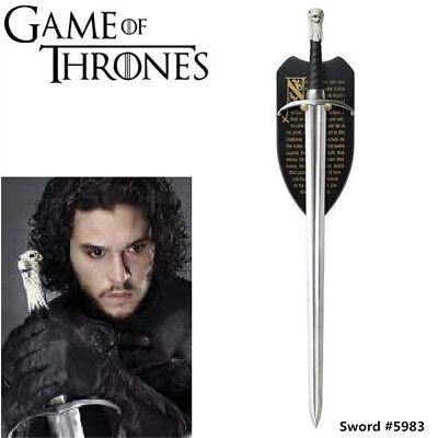 "Game of Thrones 42'' ""LongClaw"" Jon Snow Sword Replica & Plaque #5983"