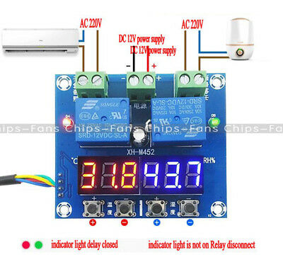 DC 12V LED Digital Display Dual Output Thermostat Temperature Controller XH-M452