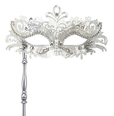 Held Hand Venetian Black Sparkling Masquerade Party Ball Mask on STICK