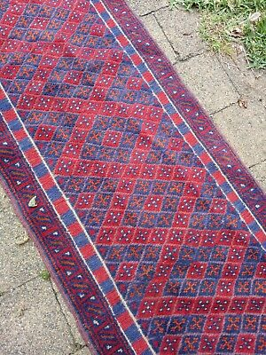 Small, narrow red and blue authentic Persian runner; FREE POST
