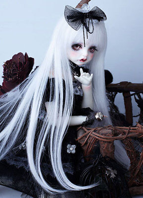 """6-7"""" 1/6 BJD Pure White Buckle End Hair Long Wig LUTS Doll SD DZ DOD MSD UAL#"""