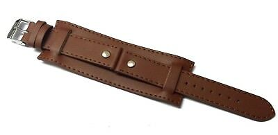 18mm 20mm 22mm BROWN MILITARY LEATHER 3 PIECE WATCH STRAP BAND CUFF with PINS
