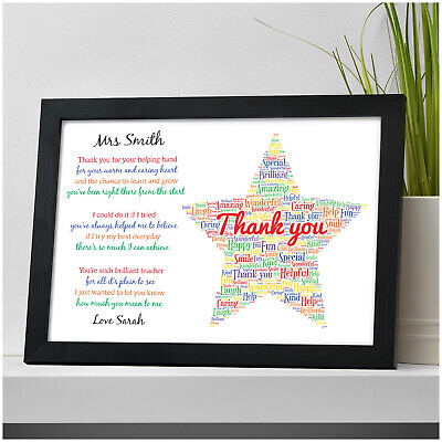 Thank You Teacher STAR Gift Personalised Best TA School Nursery Leaving Gifts
