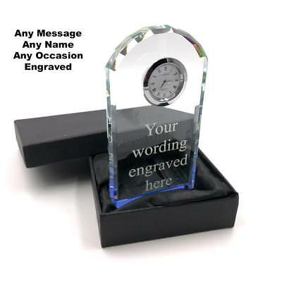 Personalised Cut Crystal Glass Mantel Clock Custom Engraved Any Message X70055