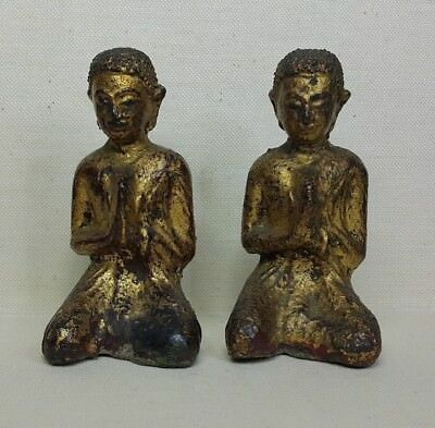 Antique Thai monk, 17th-18th century. Made from bronze-gold plated.
