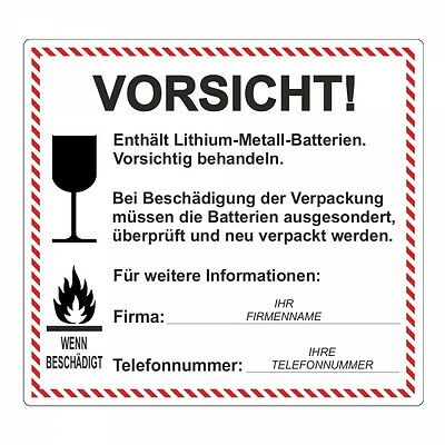 "Sticker "" Lithium-Metall-Batterien "" Incl. Company Name and Telefonnr 100 PC"