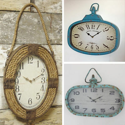 Wall Clock Vintage Industrial Style Rustic Metal Age Look Oval Face Wall Hanging