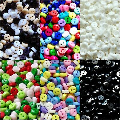 6mm Mini Buttons - Tiny for Dolls Crafts Scrapbooking - Mixed Black Xmas Pastels