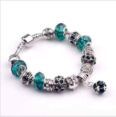 New Green Crystal Glass Beads Charm Bracelet & Bangle With Cown Pendant