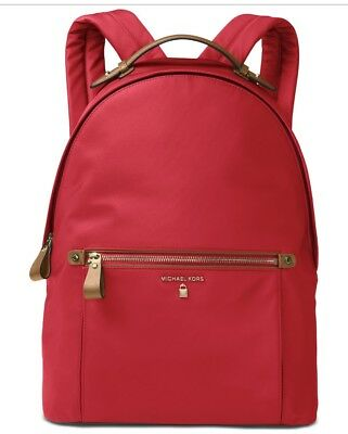7bef113c64 NWT MICHAEL Kors Kelsey Zip Large Backpack Bright Red Nylon ~MSRP 178