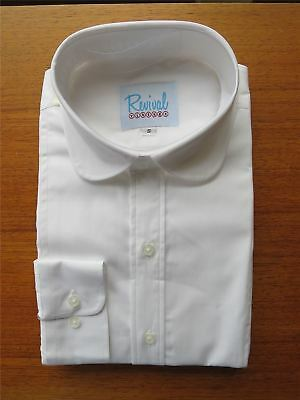 Club Collar 1930s 1940s Peaky Blinders Vintage Style White Shirt 100% Cotton