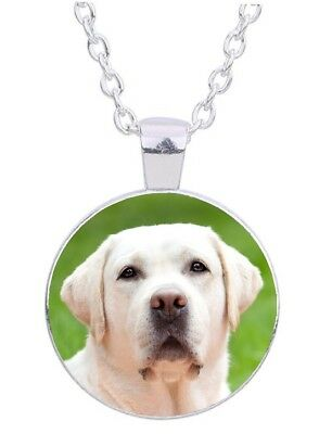 "Yellow Lab Dog 20"" Silver Tone Chain Glass Cabochon Pendant Necklace # 2"
