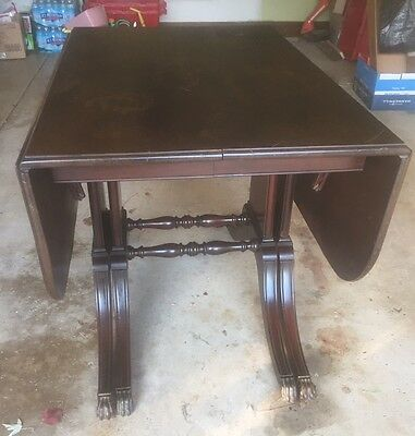 Vintage Drop Leaf Table With Brass Tone Claw Feet