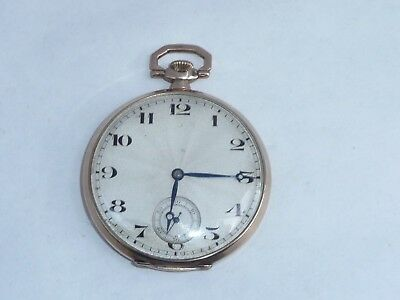 Fab Antique 44Mm Solid 9Ct Gold Art Deco Breguet Hspg Swiss Keyless Pocket Watch