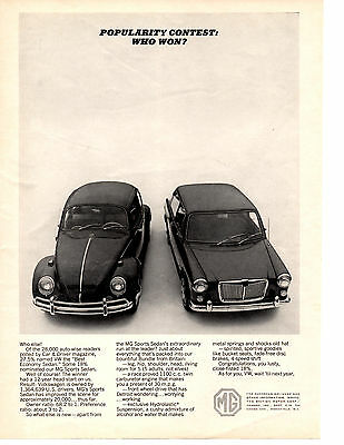 1965 Mg Sports Sedan  / Volkswagen Beetle  ~  Classic Original Print Ad