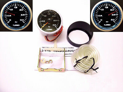 RSR Ladedruck Anzeige SET 3BAR 52mm klar Boost Gauge Instrument 16V VR6 Turbo R