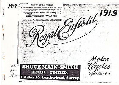 Royal Enfield 1919 Catalogue, Bruce Main-Smith copy 1984