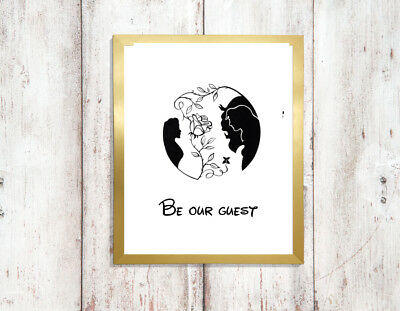 beauty beast a4 glossy poster Print picture,gift silhouette wall art unframed 4