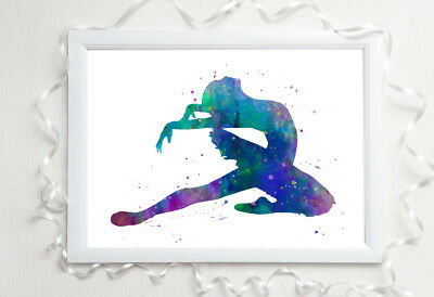 dancer gymnastics a4 glossy poster Print picture,gift watercolour unframed