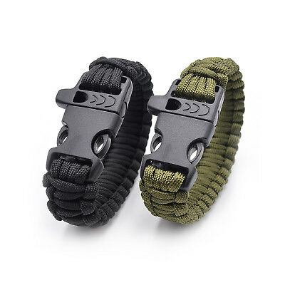 Survival Tactical Bracelet Outdoor Paracord Scraper Whistle Flint Fire Gear NEW