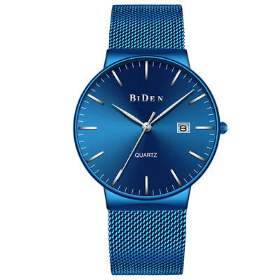 BIDEN Luxury Men Women Waterproof Stainless Steel Straps Quartz Date Wrist Watch