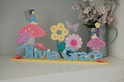 PERSONALISED Fairy Bedroom Plaque Nursery Decoration Girls Room Name Sign