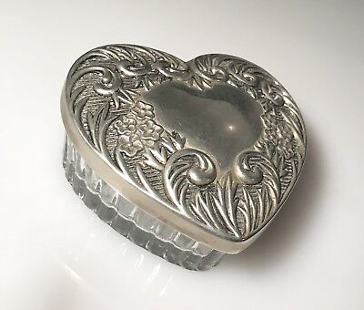 Vintage Heart Shaped Sterling Silver & Crystal Powder Box