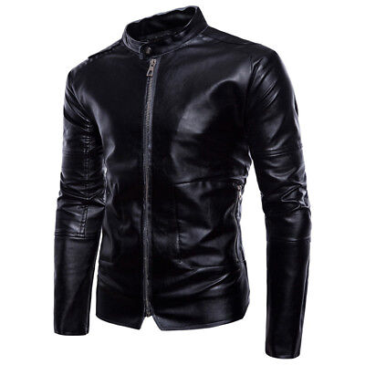 Men Leather Jacket Slim Fit Fashion Motorcycle Biker Black Synthetic