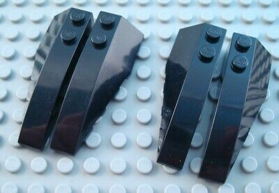 LEGO Lot of 2 Pair of Black 6x2 Smooth Brick Wedge Part and Pieces
