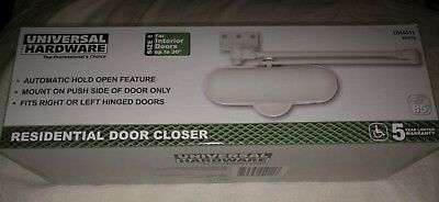 """UNIVERSAL HARDWARE UH4011 Hold-Open Door Closer White up to 30"""" 30-60 lbs NEW"""