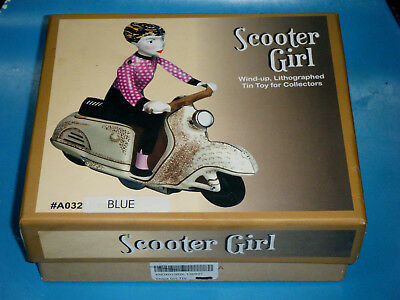 Boxed Scooter Girl Wind-Up Lithograph Tin Toy Vespa