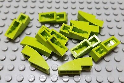LEGO Lot of 2 Lime Green 3x1 Curved Slope Pieces