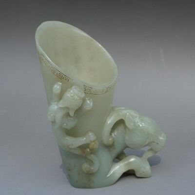 Chinese Exquisite Hand-carved sheep beast Text carving Hetian jade cup