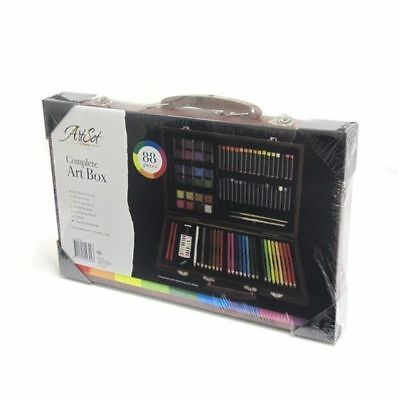 Complete Paint Drawing Art Kit Wooden Box Set Stylish Storage Case 88 Piece