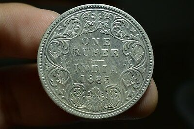 Old Antique Silver Coin British India Oueen Victoria One Rupee 1883 B Raised