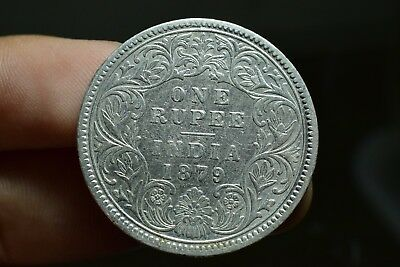 Old Antique Silver Coin British India Oueen Victoria One Rupee 1879 C