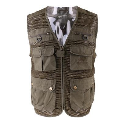 Multi Pockets Fisherman Waistcoat Fishing Hunting Vest with Back Pocket XL
