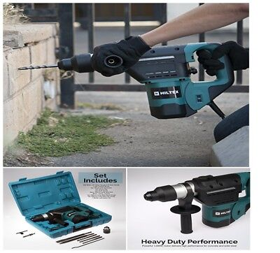 Hiltex 10513 1-1/2 Inch SDS Rotary Hammer Drill | Includes Demolition Bits Flat