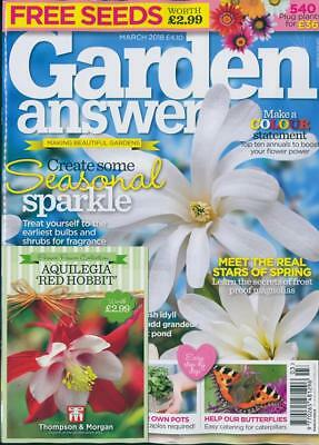 GARDEN ANSWERS MAGAZINE ISSUE MARCH 2018 WITH 4 x PACKS OF SEEDS ~ NEW ~