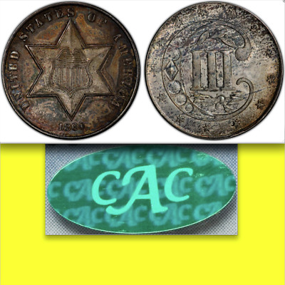 1860 PCGS MS64 CAC $2,476 APR ✔Lustrous ✔Semi-Key ✔RARE PQ Three Cents Silver 3C