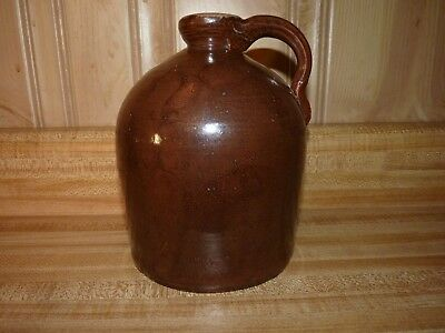 "Stoneware Whiskey Little Brown Jug 7"" Moonshine Beehive Antique applied handle"