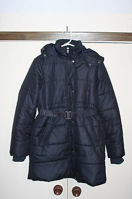 Mom2Mom Sweden Maternity Winter Jacket Size 38 Navy Blue Hood Zip Polyester EUC