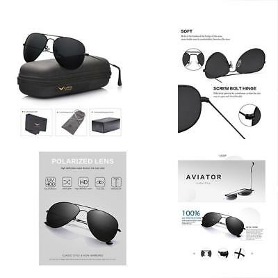 1e65d7e8f9 Aviator Sunglasses Polarized Mens Womens Black Lens Metal Frame 60mm