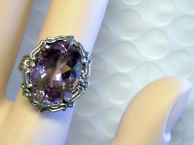 NATURAL Purple Amethyst filigree antique 925 sterling silver ring size 6.5 USA
